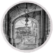 Round Beach Towel featuring the photograph United States Capitol - Archway Black And White by Marianna Mills