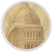 United States Capitol, Section Of Dome, 1855 Round Beach Towel