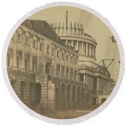 United States Capitol Under Construction Round Beach Towel