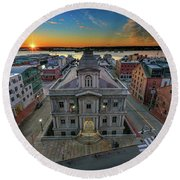 Round Beach Towel featuring the photograph United States Custom House by Rick Berk
