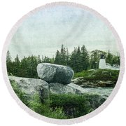 Round Beach Towel featuring the photograph Upon This Rock by Mike Braun