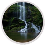 Upper Catawba Falls, North Carolina Round Beach Towel