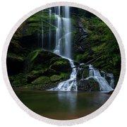 Upper Catawba Falls, North Carolina Round Beach Towel