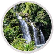 Round Beach Towel featuring the photograph Upper Waikani Falls by Dawn Richards