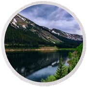 Round Beach Towel featuring the photograph Urad Lake by Dan Miller