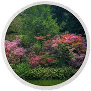 Urban Flower Garden Round Beach Towel