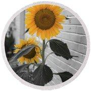 Urban Sunflower - Black And White Round Beach Towel