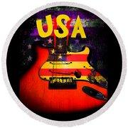 Usa Flag Guitar Purple Stars And Bars Round Beach Towel