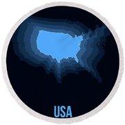 Usa Radiant Map I Round Beach Towel
