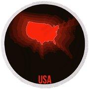 Usa Radiant Map II Round Beach Towel