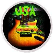 Usa Strat Guitar Music Green Theme Round Beach Towel