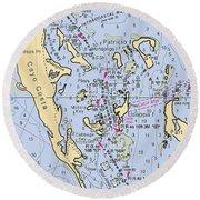 Useppa,cabbage Key,cayo Costa Nautical Chart Round Beach Towel