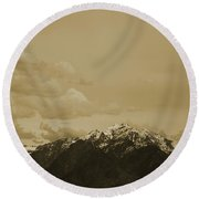 Round Beach Towel featuring the photograph Utah Mountain In Sepia by Colleen Cornelius
