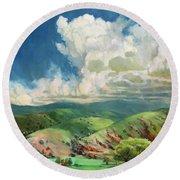 Round Beach Towel featuring the painting Utah Spring by Steve Henderson