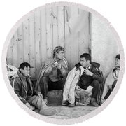 Round Beach Towel featuring the photograph Uzbek Day Laborers by SR Green