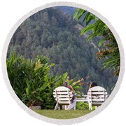 Vacation On Strawberry Hill Round Beach Towel