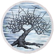 Round Beach Towel featuring the drawing Vail Love Tree by Aaron Bombalicki