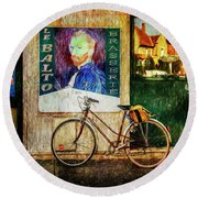 Round Beach Towel featuring the photograph Van Gogh's Peugeot Bicycle by Craig J Satterlee