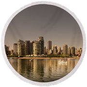 Vancouver Golden Light Hour Round Beach Towel