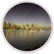 Vancouver In Magical Hours Round Beach Towel