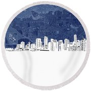 Vancouver Skyline Map Blue Round Beach Towel