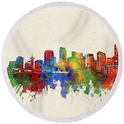 Vancouver Skyline Watercolor Round Beach Towel