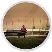 Vancouver Stadium In A Golden Hour Round Beach Towel