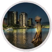 Vancouver Sunset Round Beach Towel