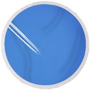 Vapour Trails On High Round Beach Towel