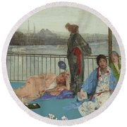 Variations In Flesh Color And Green, The Balcony Round Beach Towel