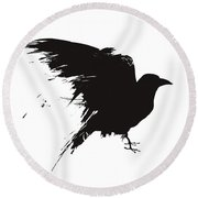 Vector Illustration Of The Silhouette Of A Raven In Grunge Style. - Vector  Round Beach Towel