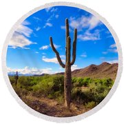 Round Beach Towel featuring the photograph Vekol Wash Beauty by Judy Kennedy