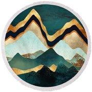 Velvet Copper Mountians Round Beach Towel