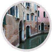 Venetian Streets -canals. Carlo Galdoni Museum Round Beach Towel