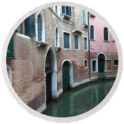 Venetian Streets -canals. Carlo Galdoni Museum Round Beach Towel