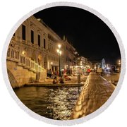 Venice At Night. San Marco Round Beach Towel