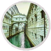 Round Beach Towel featuring the photograph Venice Bridge Of Sighs by Kay Brewer