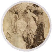 Venus Weigh Cupid Round Beach Towel