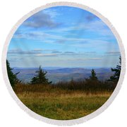 Round Beach Towel featuring the photograph Vermont From The Summit Of Mount Greylock by Raymond Salani III