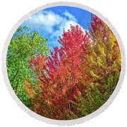 Round Beach Towel featuring the photograph Vibrant Autumn Hues At Cornell University - Ithaca, New York by Lynn Bauer