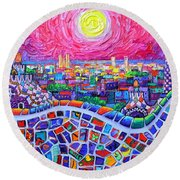 Vibrant Barcelona Night View From Park Guell Modern Impressionism Knife Painting Ana Maria Edulescu Round Beach Towel
