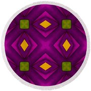 Vibrant Geometric Design Round Beach Towel