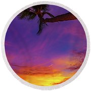 Vibrant Kona Inn Sunset Round Beach Towel