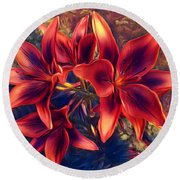 Vibrant Red Lilies Round Beach Towel