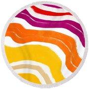 Vibrant Waves 1- Art By Linda Woods Round Beach Towel
