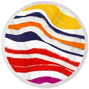 Vibrant Waves 2- Art By Linda Woods Round Beach Towel