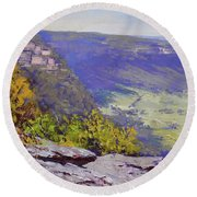 View From Hassons Wall Lithgow Round Beach Towel