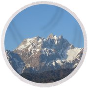 View From My Art Studio - Pilatus I - April 2019 Round Beach Towel