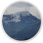 View From My Art Studio - Stanserhorn - March 2018 Round Beach Towel