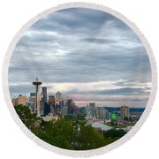 View From Queen Anne, Round Beach Towel
